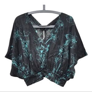 Free People black turquoise top Small